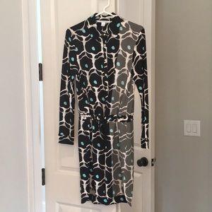 Diane von Fursternberg silk twill snap-front dress